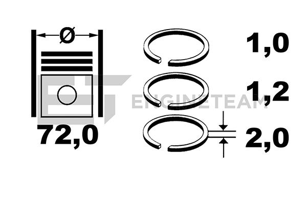 SET SEGMENTI PISTON ET ENGINETEAM R1009400