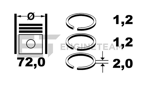 SET SEGMENTI PISTON ET ENGINETEAM R1009500